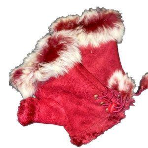 Dark Merlot Faux Fur Fingerless Gloves